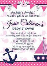 Nautical pink baby shower personalized invitation 1st birthday PRINTABLE  - £6.76 GBP