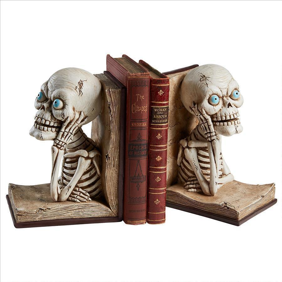 Set of Gothic Skeletons in Open Books Creepy Ghastly Halloween Decor Bookends
