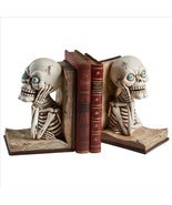 Set of Gothic Skeletons in Open Books Creepy Ghastly Halloween Decor Boo... - $74.20