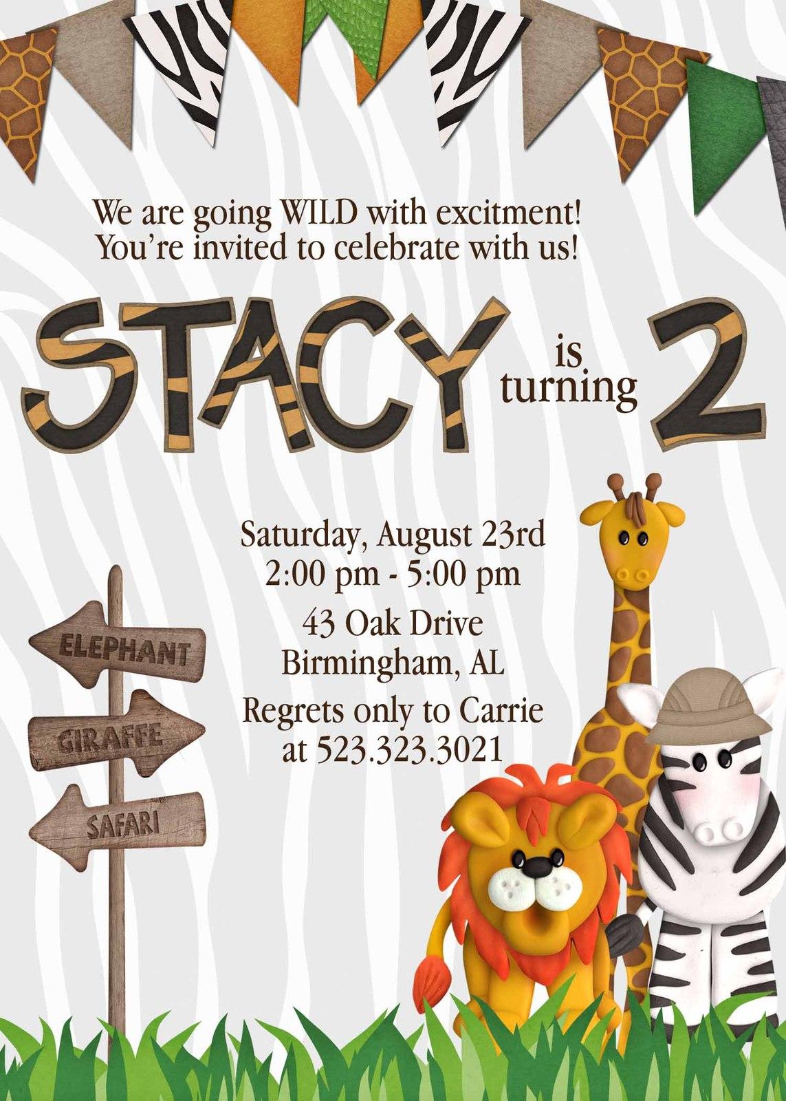 PRINTABLE safari themed birthday invitation, and 50 similar items