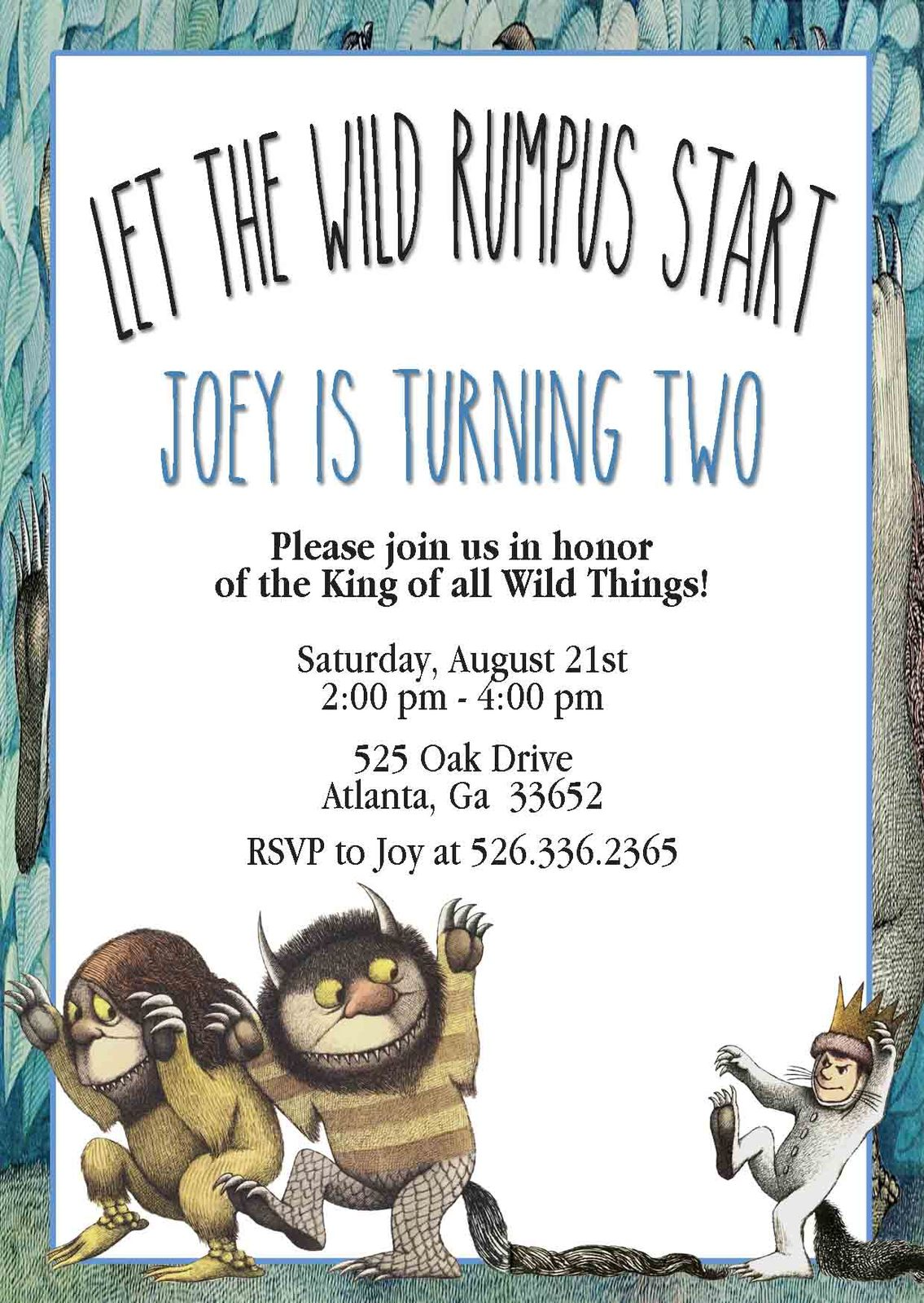 Used, PRINTABLE where the wild things are birthday baby shower invitation personalized for sale  USA