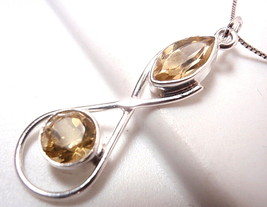 Faceted Citrine Necklace Marquise Round 925 Sterling Silver New - $20.23