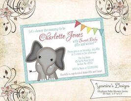 PRINTABLE Aqua elephant invitation birthday baby shower personalized - £5.46 GBP