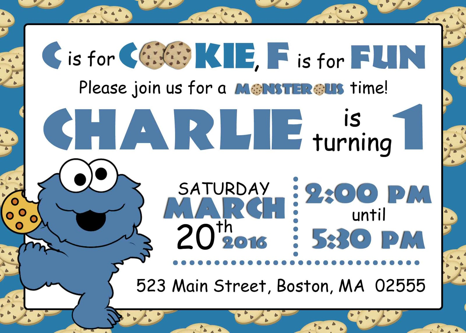 PRINTABLE Baby cookie monster invitation and 50 similar items