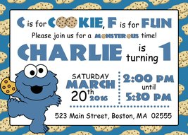 PRINTABLE Baby cookie monster invitation birthday baby shower personalized - £6.76 GBP