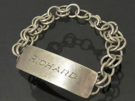 Antique Sterling Silver Engraved RICHARD ID Link Chain Bracelet 7'' Length - $75.00
