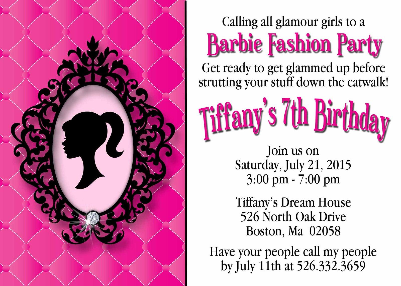 yasminesdesigns barbie invitation 2 listings