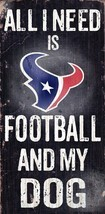 "HOUSTON TEXANS FOOTBALL & my DOG WOOD SIGN & ROPE 12"" X 6""  NFL MAN CAVE! - $14.54"