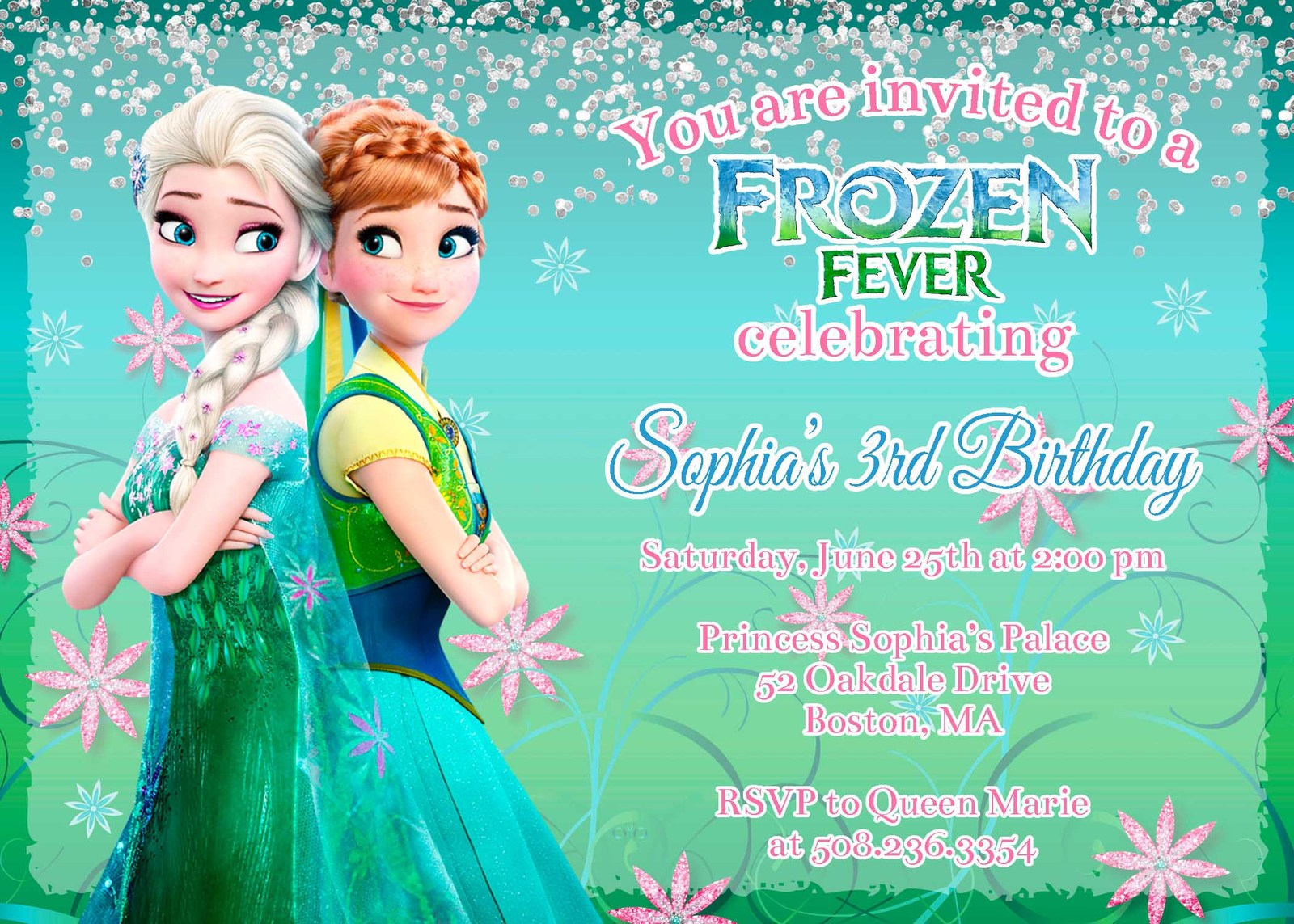 This is a graphic of Frozen Invites Printable in spa party