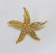 Vintage starfish brooch pin gold tone nautical beach ocean - $12.86