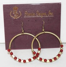 "PREMIER DESIGNS Jewelry ""Impulse"" dangling hoop copper tone earrings wit... - $9.49"