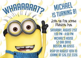 PRINTABLE Minions baby shower or birthday invitation personalized - £7.55 GBP