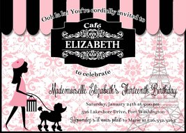 PRINTABLE Paris and Poodles Cafe invitation birthday baby shower persona... - £7.55 GBP