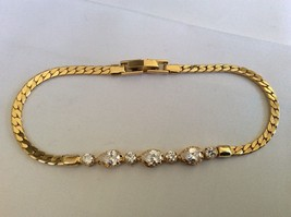 """Yellow gold plate brolliant Clear CZ Crystal link  Bracelet 7.75"""" L - $21.78"""