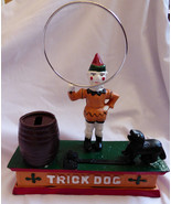Cast Iron metal hand painted Clown Circus trick act hoop jumping black D... - $51.48