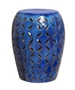 COBALT BLUE LATTICE Ceramic Garden Stool Indoor Outdoor - $249.00