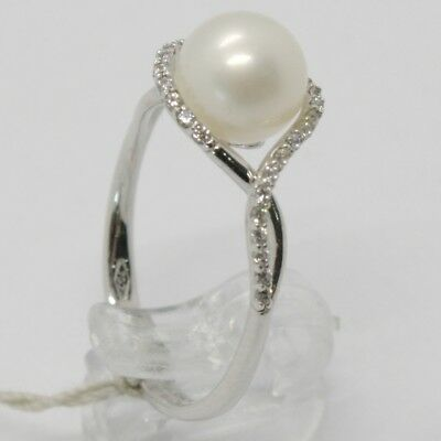 18K WHITE GOLD BAND PEARL ZIRCONIA RING ONDULATE, WAVE, BRAIDED, MADE IN ITALY