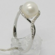 18K WHITE GOLD BAND PEARL ZIRCONIA RING ONDULATE, WAVE, BRAIDED, MADE IN ITALY image 1