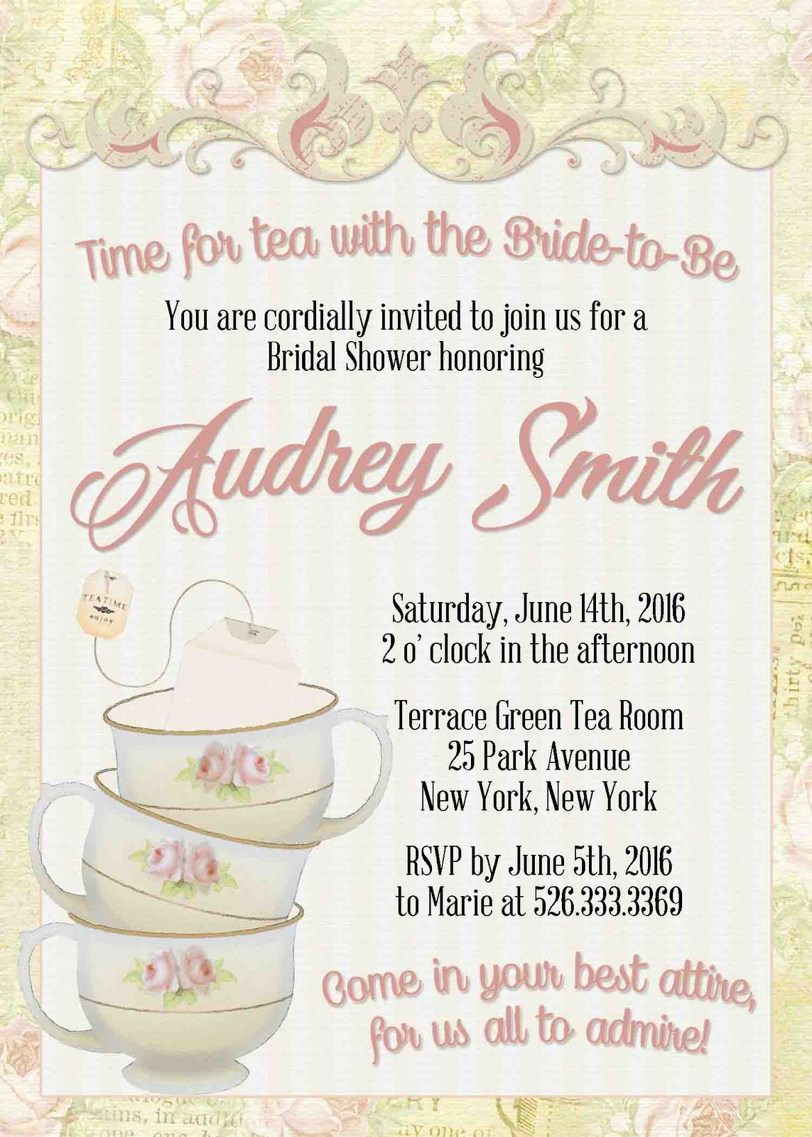 Printable Pink Vintage Tea Party Invitation And 50 Similar Items