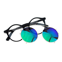 Removable Mirror Lens Sunglasses To Clear Lens Round Keyhole Frame - $11.95