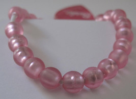 Girls Pink Beads Stretch Bracelet with Heart Charm - $4.40