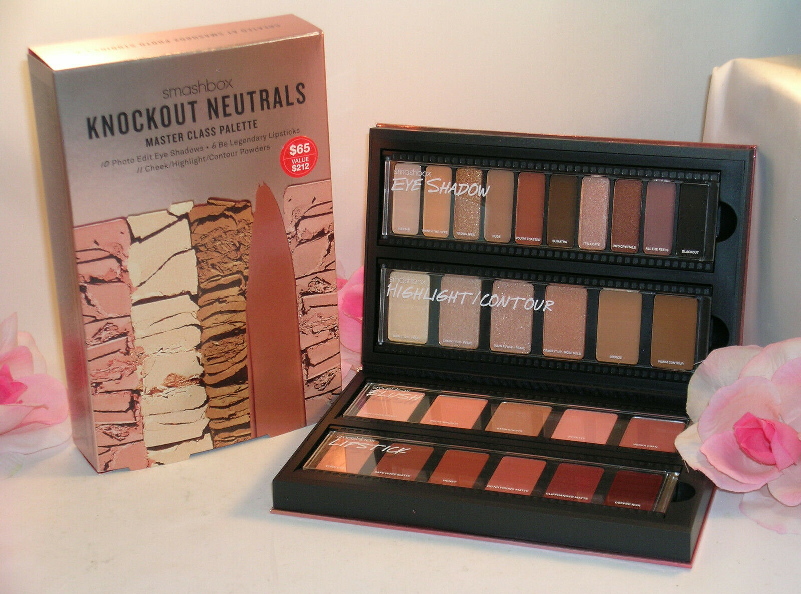 Primary image for New Smashbox Knockout Neutrals Master Class Palette 27  Shades Eyes Cheeks Lips