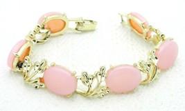 Vintage Gold Tone Pink Thermoset Plastic Floral Flower Bracelet - $29.70
