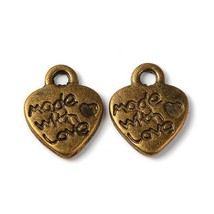 10 Made with Love Heart Charms Antique Bronze Tone Jewelry Tags Pendants... - $2.39