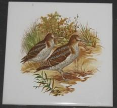 """Vtg Pair of Woodland Birds 6"""" Porcelain Accent Tile Made in USA Estate Sale - $8.91"""