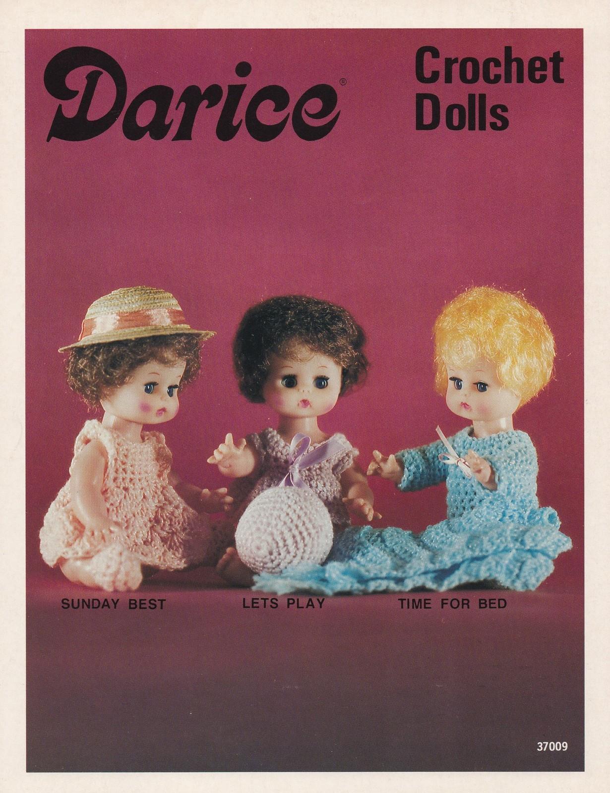 Crochet Dolls, Darice Pattern Leaflet 37009 Doll Dress Sleeper Blanket & More - $4.95