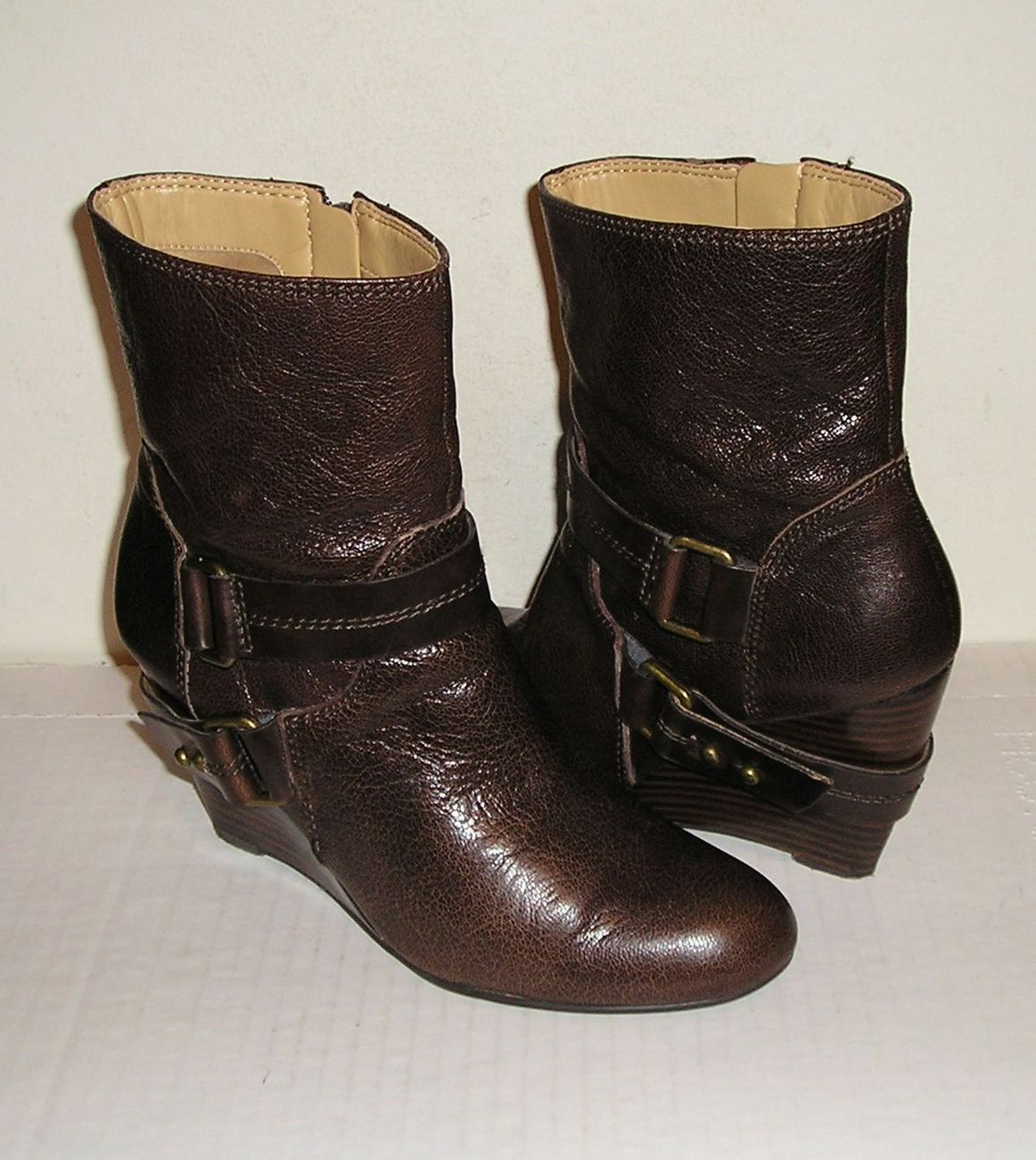 Nine west onthegco women s brown leather wedge buckle ankle boots 8 m   1