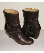 Nine west onthegco women s brown leather wedge buckle ankle boots 8 m   1  thumbtall