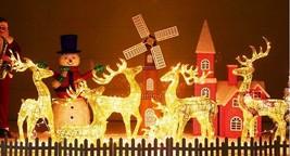 Merry Christmas Santa's Deer Decoration w/ LED Lights Xmas Statue Figure... - $161.69+