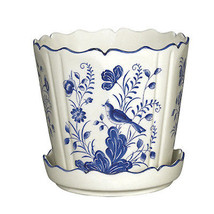 Andrea by Sadek Large Cream Blue Bird Scalloped... - $31.79