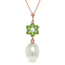 "4.53 CTW 14K Solid Rose gold fine Necklace 16-24"" genuine pearl Peridot ... - $163.84+"