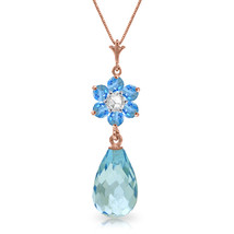 "2.78 CTW 14K Solid Rose gold fine Necklace 16-24"" genuine Blue Topaz Diamond - $191.22+"