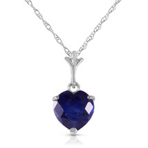 "1.55 CTW 14K Solid White gold fine Necklace 16-24"" genuine Heart Sapphire - $120.10+"