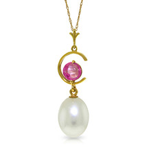 """4.5 CTW 14K Solid gold fine Necklace 16-24"""" genuine pearl Pink Topaz - $109.64+"""