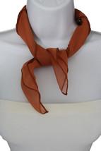 Women Fashion Neck Scarf Mocha Light Brown Small Soft Fabric Square Pocket Sheer - $9.79