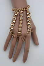 Women Gold Metal Wrist Bracelet Hand Chains Slave Rings Long Spikes Bangle Rock - $29.39