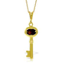 "0.5 CTW 14K Solid gold fine Key Charm Necklace 16-24"" Garnet - $192.77+"