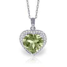 "3.39 CTW 14K Solid White gold Green Amethyst Diamond Necklace 16-24"" - $355.16+"