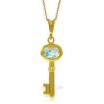 "0.5 CTW 14K Solid gold fine Key Charm Necklace 16-24"" Aquamarine - $166.42+"