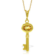 "0.5 CTW 14K Solid gold fine Key Charm Necklace 16-24"" Citrine - $192.77+"