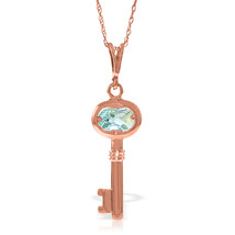 "14K Solid Rose gold fine Key Charm Necklace 16-24"" w Aquamarine - $202.63+"