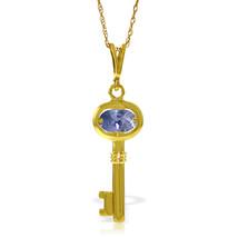 "0.5 CTW 14K Solid gold fine Key Charm Necklace 16-24"" Tanzanite - $162.36+"