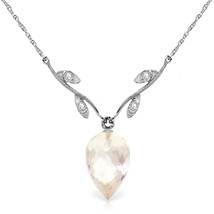 "12.27 CTW 14K  White gold fine Necklace 16-24"" Diamond Briolette White Topaz - $253.76+"