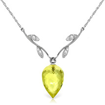 "9.02 CTW 14K  White gold fine Necklace 16-24"" Diamond Briolette Lemon Quartz - $137.76+"