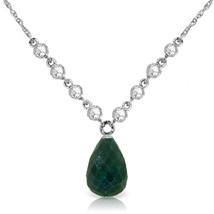 "15.6 CTW 14K Solid White gold fine Necklace 16-24"" Diamond Emerald - $831.93+"
