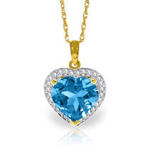 "6.44 CTW 14K Solid gold fine Elizabeth Blue Topaz Diamond Necklace 16-24"" - $330.79+"